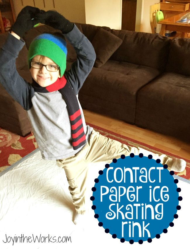 """Stuck inside with the kids and looking for something fun to do?  Make this simple contact paper ice skating rink and let your kids """"ice"""" skate indoors and even play games like broom hockey!"""