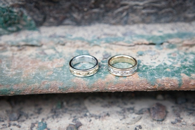 The rusted metal and chipped paint add a cool texture to the rings