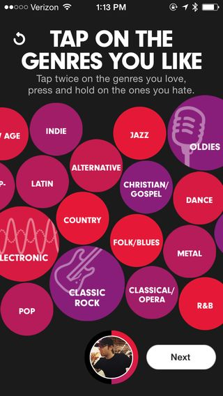 Beats Music app and a unique selection view compared to a standard category list.