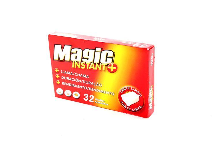 MAGIC Instant     Pastillas enciendefuegos que valen por dos  + Llama: hasta un 25% en peso y tamaño  + Duración: hasta un 35%+ que otras  + Rendimiento: con 1-2 pastillas basta  CORTE LIMPIO