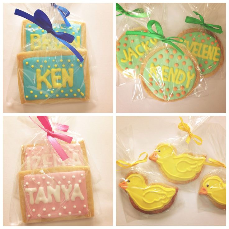 Name icing cookies for birthday party.