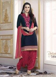 Karishma Look Fabulous In This Navy Color Unstitched Embroidered Patiala Suit