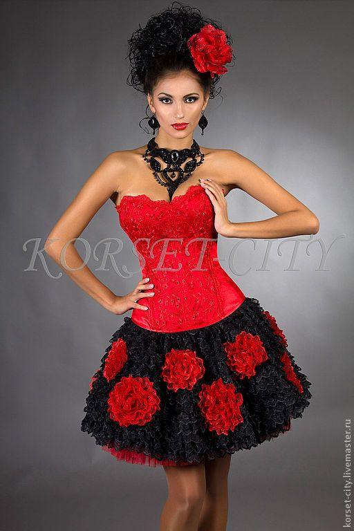 Купить Утягивающий корсет «Любовный романс» красный с кружевом - ярко-красный, корсет, корсет утягивающий