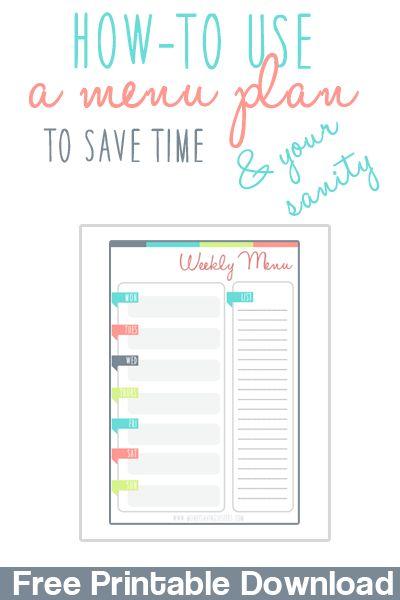 Pinterestu0027teki 25u0027den fazla en iyi Menu planning printable fikri - free menu planner template
