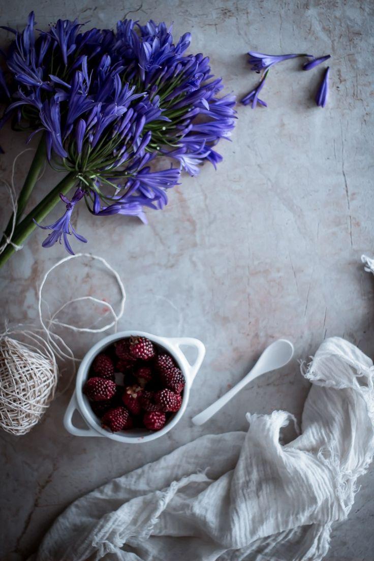 Blackberry Greek Yogurt and caramel layer cake
