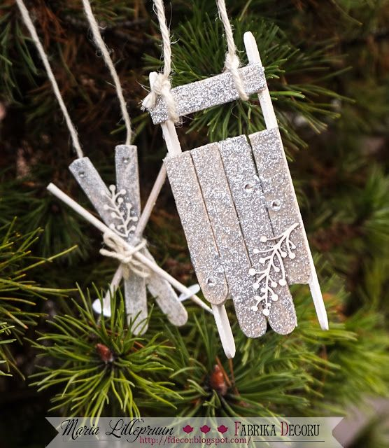 Handmade Christmas tree decorations - sledges and skis