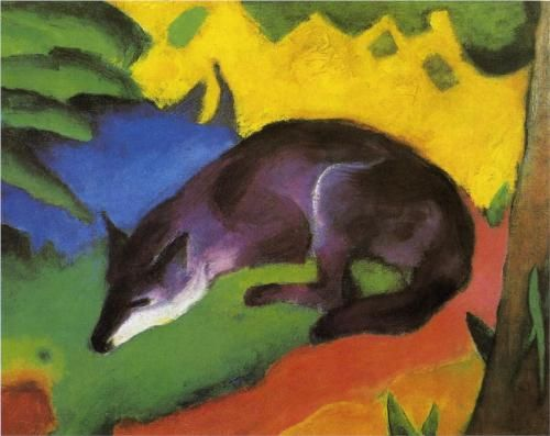 Blue Fox 1911. Most of Franz Marc's mature work portrays animals, usually in natural settings. His work is characterized by bright primary color, an almost cubist portrayal of animals, stark simplicity and a profound sense of emotion. Even in his own time, his work attracted notice in influential circles. Marc gave an emotional meaning or purpose to the colors he used in his work: blue was used to portray masculinity and spirituality