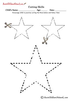 Cutting Shapes Free Worksheets -  could be used for the class Christmas tree made out of stars