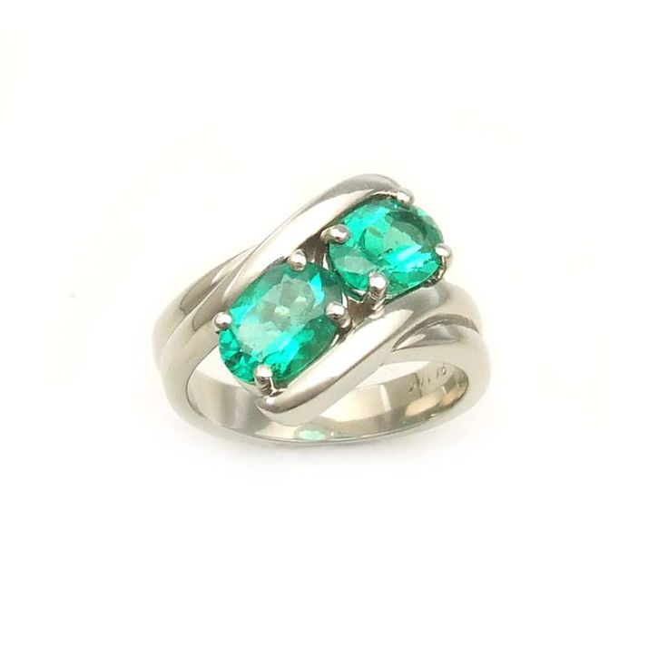 White Gold Bypass Emerald Twist Ring