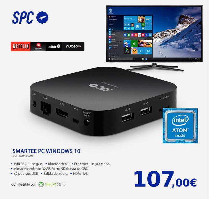 SMARTEE WINDOWS PC Úsalo como PC - Conecta tu pantalla, tu teclado y tu ratón y - móntante un PC de bajo coste.  Úsalo como smart TV - Convierte tu TV en la Smart TV más potente del mercado. - Siempre al día, y compatible con todos los códec de - vídeo y todas las webs.