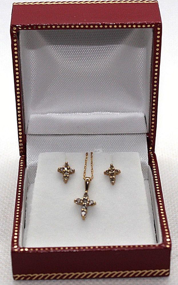 fdd5cc3d14245 10K YELLOW GOLD CHAMPAGNE DIAMOND PENDANT/EARRING .19CTW Rd Diam 4Pc ...
