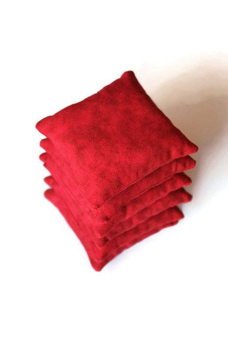 Crimson Red Bean Bags (set of 6) Boys Toy Small 3 Inch Squares Rice-filled Bean Bags Homeschool Christmas Gift - US Shipping Included by handiworkingirls. Explore more products on http://handiworkingirls.etsy.com