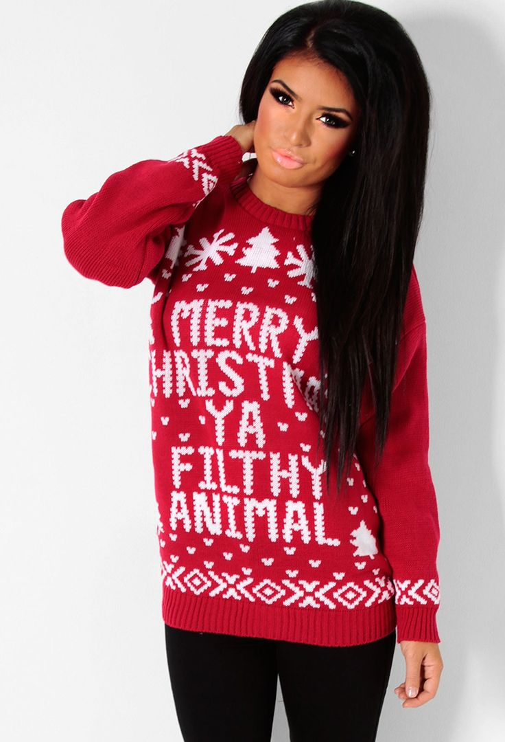 Culkin Red & White Knitted Christmas Print Jumper from ...
