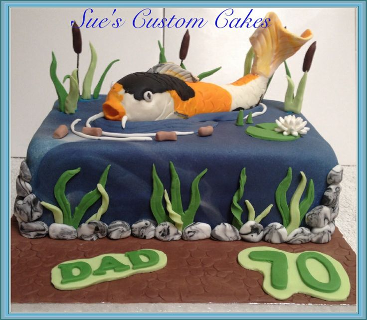 Koi Carp Pond Cake Garden pond, lily pad, fondant koi, bull rushes
