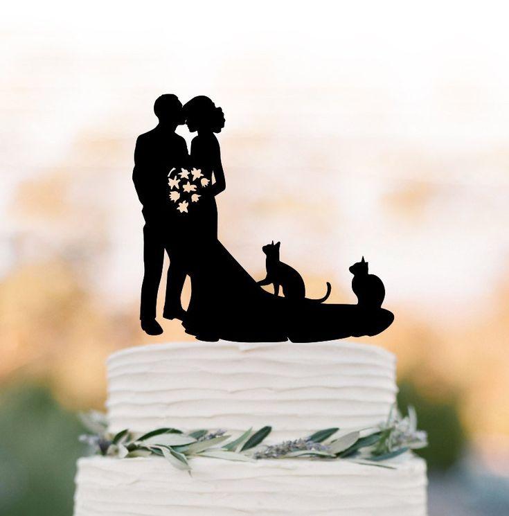 Braut und Bräutigam Hochzeitstorte Topper mit zwei 2 Katzen Braut | Etsy   – Wedding cake