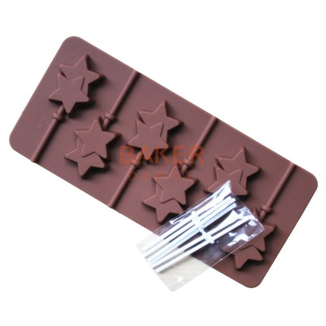 Silicone mold 6 lattices double Pentagram lollipop mold DIY star chocolate mold comes with plastic rod CDSM-068