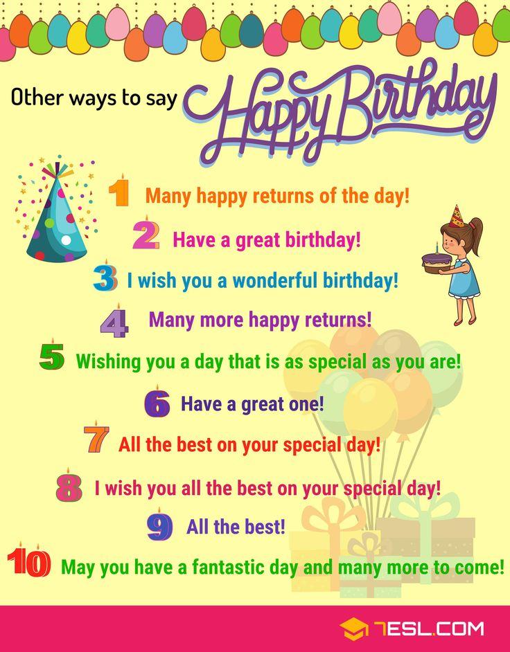 25+ Ways To Say HAPPY BIRTHDAY! In English Birthday