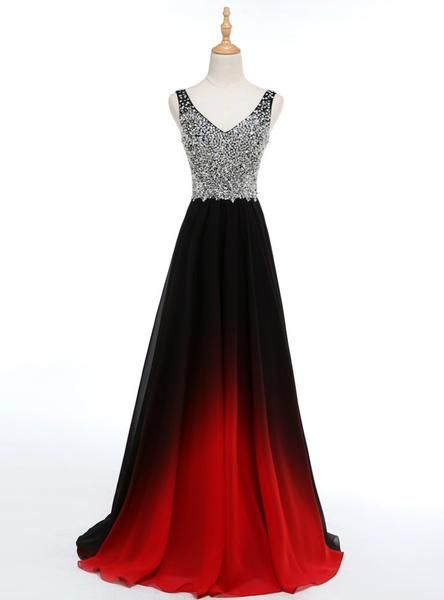 V Black Elegant Long Formal Gowns Beadings