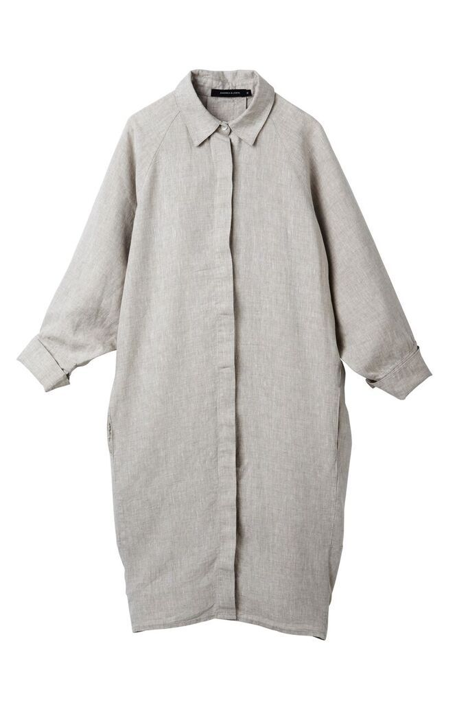 The 'Evie' Shirt Dress in Husk - Andrea & Joen French Linen Loungewear Collection shot by Sylve Colless