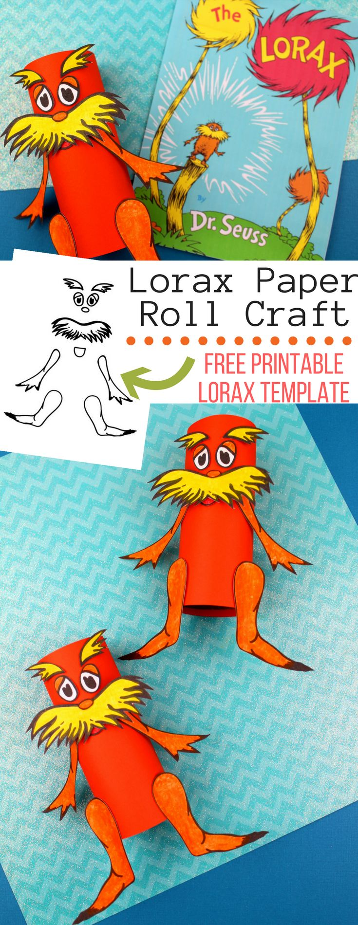 Celebrate Dr. Seuss day with a fun Lorax Dr Seuss activity. This Lorax Paper Roll craft comes with a free Lorax printable template. This is a fun Dr. Seuss activity for kids. #craftpaper