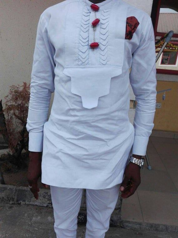 prom dashiki White And Red Embroidery African Dashiki suit Bespoke men/'s dashiki African men/'s clothing African groom/'s men wedding suit