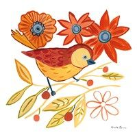 Framed Orange Bird III