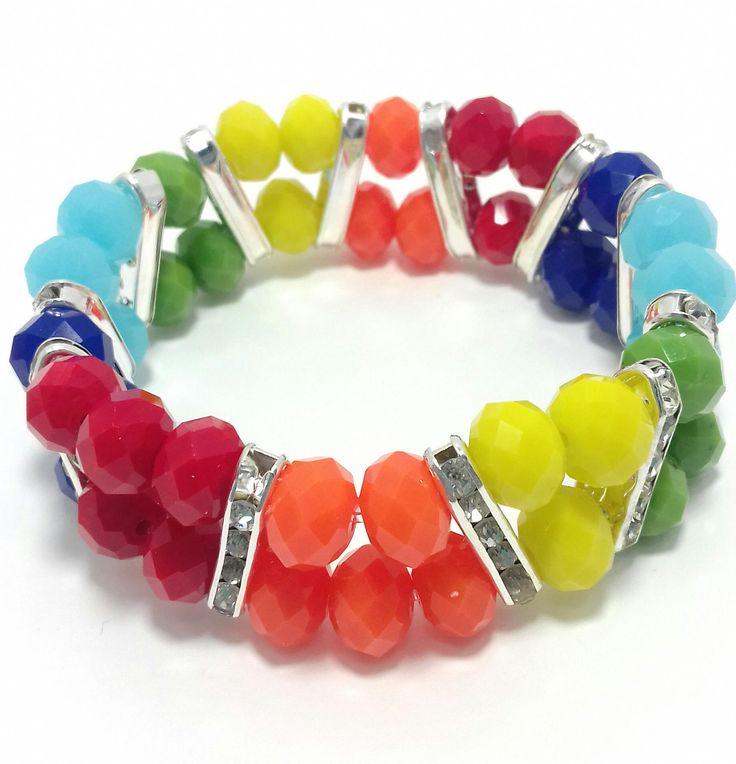 Multi Colour Crystal Bracelet White Gold Silver Rainbow by BeadsAndSilkHarmony on Etsy