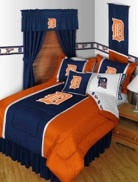 Amazon Detroit Tigers MLB Full Comforter Sheets Shams 7 Piece