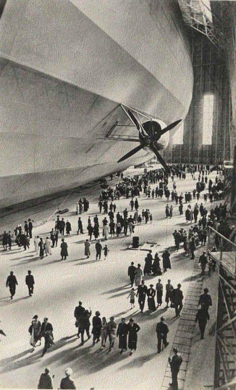 Germany. Graf Zeppelin boarding passengers in Frankfurt am Main, 1936-1937