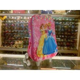 Tas Sekolah Anak Trolley Roda Import TK SD 3D Hard Cover Princess