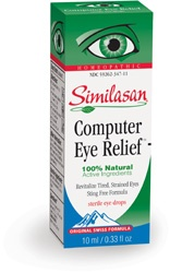 Eye Drops- Computer Eye Relief.  Your eyes work hard and just like you, they can become fatigued, especially after hours of computer work, watching TV, reading, writing, or driving at night. The homeopathic active ingredients in Similasan's Computer Eye Relief sterile eye drops are specifically formulated to soothe and relax tired eyes and address symptoms of eye fatigue which may include eyestrain, eyelid spasms, achiness, blurry. On sale at The Health Garden for $16.49