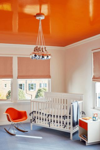 white-nursery-orange-ceiling