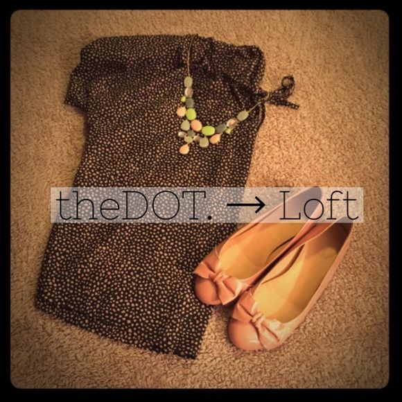 B3G1 FREE LOFT Batwing Top  NWOT, perfect condition black with camel dots. Keyhole-bow on the front.  ✔️ Bundle Discount, Boutique Listings, Fast Shipping, Like, Share, Follow ✔️ LOFT Tops