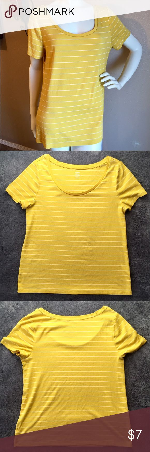 Women's✨Old Navy✨Scoop-neck Top Gold-ish/Yellow scoop-neck top with white stripes from Old Navy! Perfect pop of color for your spring/summer attire!! Used but in great condition!! Women's XL, material has a soft, silky feel. Very comfortable to wear, not clingy or tight fitting.👍🏻🚭 •55% cotton/ 39% modal/ 6% spandex Old Navy Tops Tees - Short Sleeve