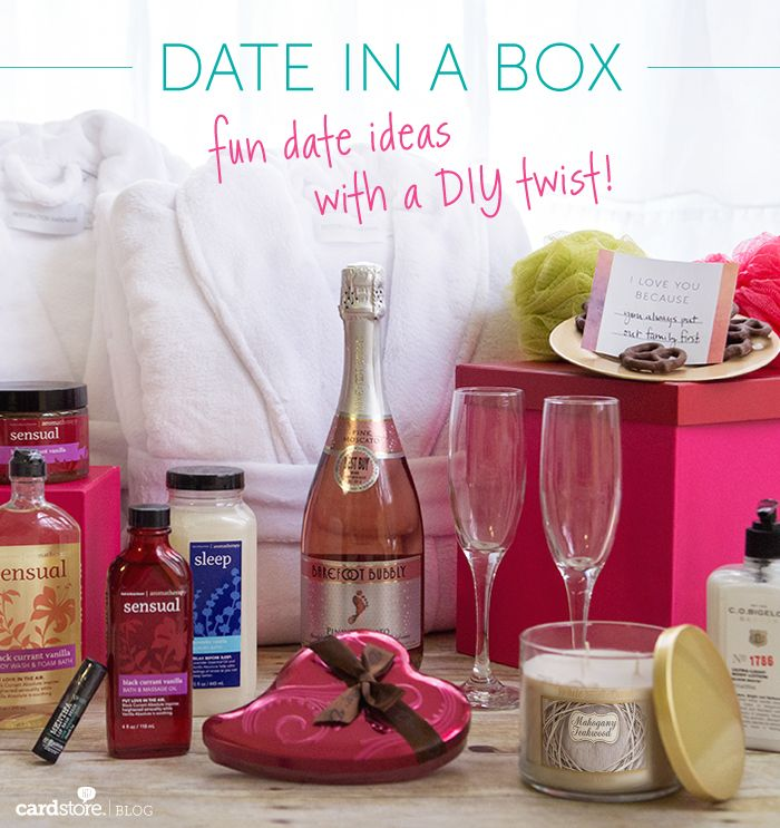 "Date in a Box: Fun date ideas with a DIY twist! | Cardstore Blog. Several ""Date in a Box"" Ideas! Happy Valentine's Day <3"