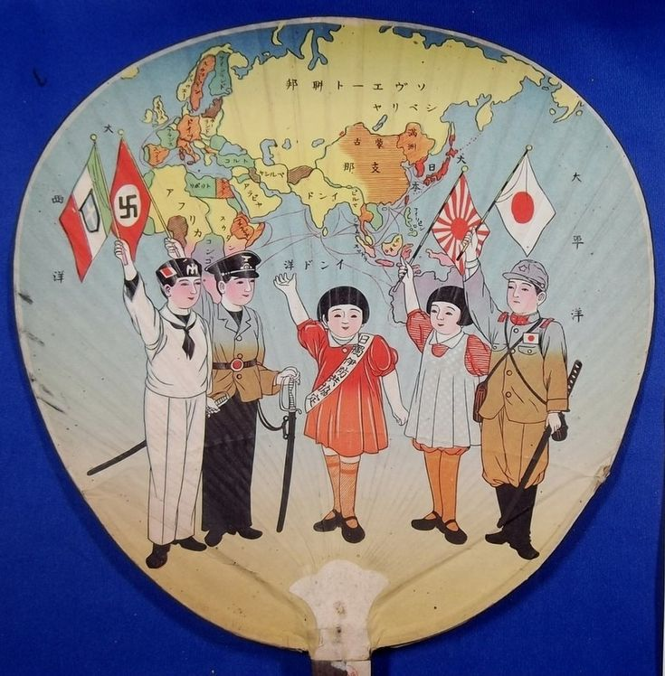 1930's Japan - Nazi Germany & Italy Anti Comintern Pact ( anti communism soviet ) Art Fan Uchiwa / vintage antique old military war art / historic history paper material Japan - Japan War Art
