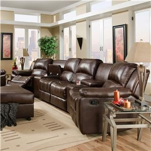 882 Oasis Chestnut 4 Seat Reclining Sectional By