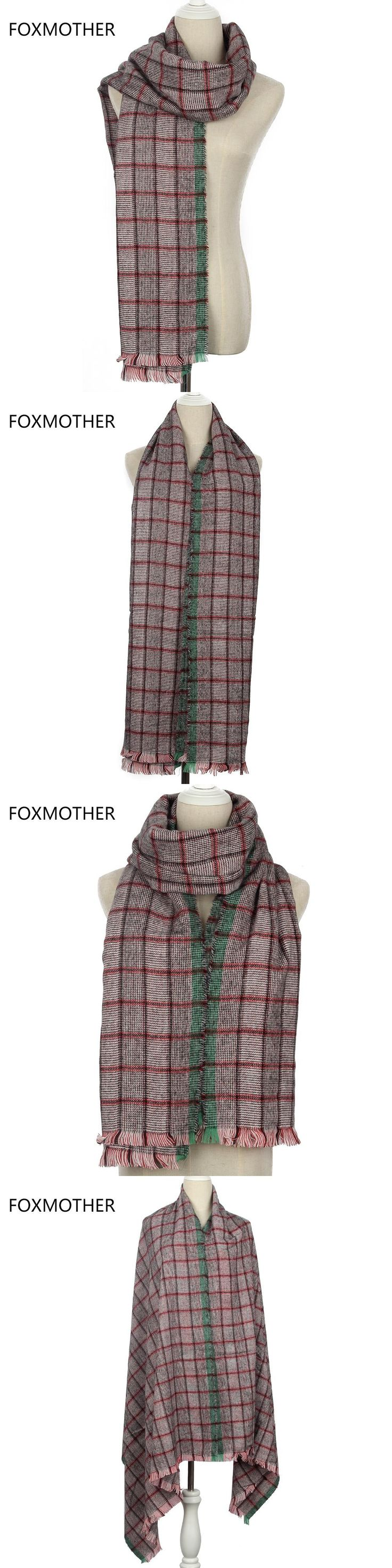 FOXMOTHER 2017 New Womens Fashion Winter Oversized Cashmere Green Red Multicolor Plaid Blanket Scarf For Mens