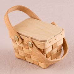Miniature Picnic Basket Favor (if we dye these dark brown and add mini bottles of wine)
