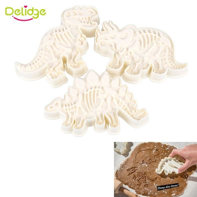 3pcs Dinosaur Shape Biscuit Cookie Cutter Pastry Fondant Cake Decoration Mould