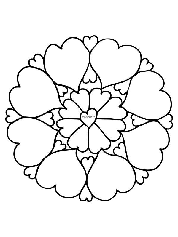 Kleurplaat Mandala - hartjes - liefde - Kleurplaten.nl