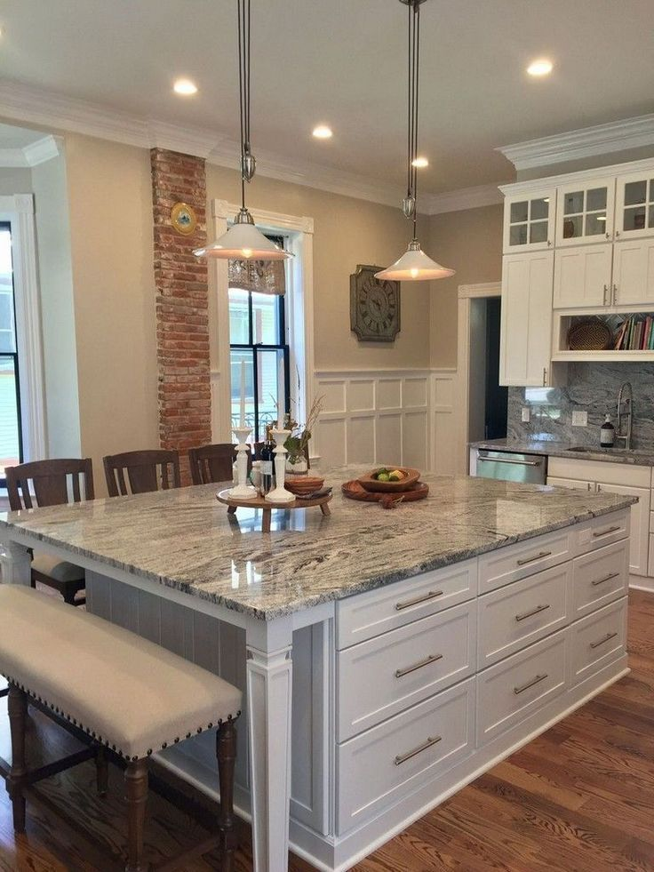 40 Awesome Kitchen Island Design Ideas With Modern Decor Layout Kitchen Remodel Aweso Kitchen Island With Bench Seating Kitchen Remodel Kitchen Design