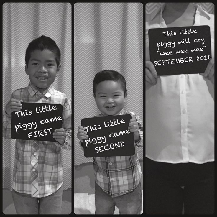 "Our pregnancy announcement. ""Three Little Pigs"" I always like to include my 2 handsome boys in everything so I started to think and Googled what came in 3's. When I came across Three Little Pigs, I immediately thought of that other piggy rhyme you do with your children's toes: ""This little piggy went to market, this little piggy stayed home. This little piggy had roast beef, this little piggy had none. This little piggy cried ""wee wee wee"", all the way home."" We had a fun little photo shoot…"