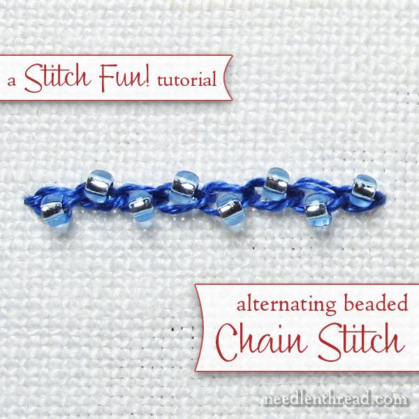 Embroidery Stitch Tutorial: alternating beaded chain stitch