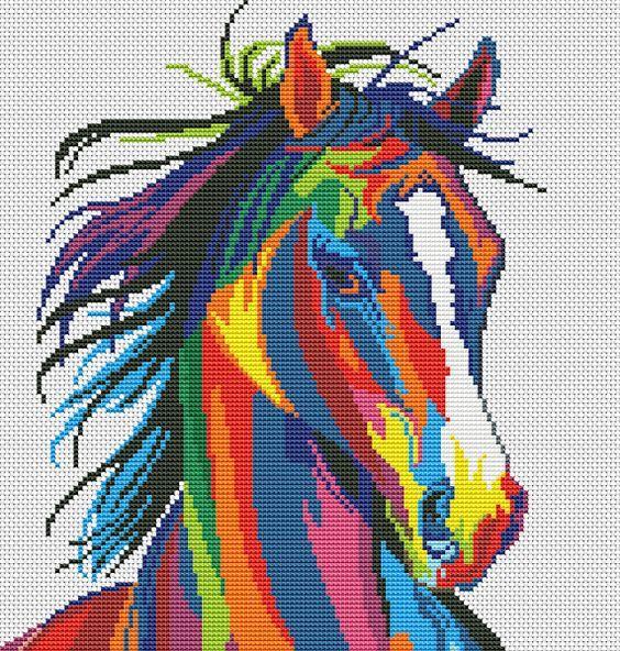 Rainbow horse x-stitch