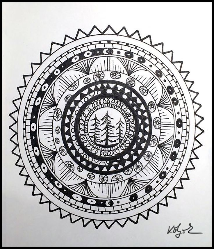 Night doodling. Pine-grove up North. Zentangle drawing by Kölyök