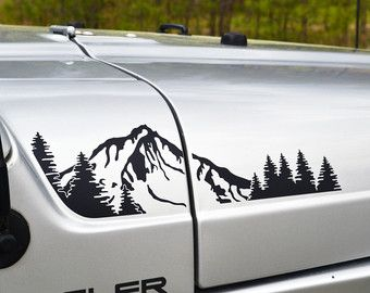 Jeep Wrangler TJ estesa foresta Hood decalco 4pc di GraphicForest