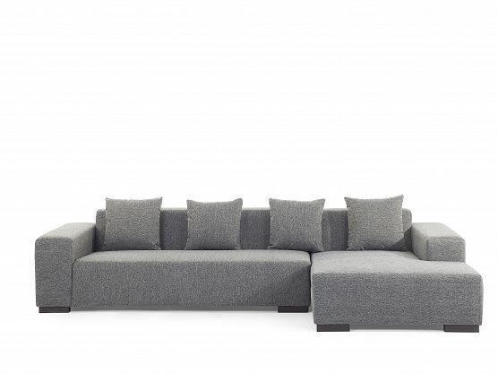 Sofa ciemnoszara - sofa narożna L - tapicerowana - LUNGO_131817