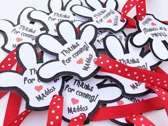 Mickey Mouse Favor Tags Thanks for Stopping By Glove