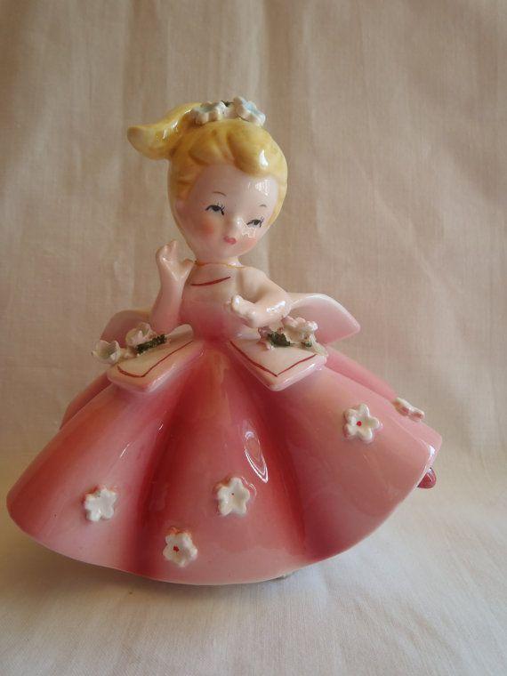 Vintage Lefton Porcelain Figurine Little Girl in Pink , Collectible Lefton Figurine.